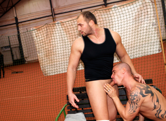 Out-In-Public-Tomm-and-Max-bareback-sex-uncut-cocks-Amateur-Gay-Porn-11 Amateur Muscle Jocks Barebacking In Public At An Indoor Tennis Court