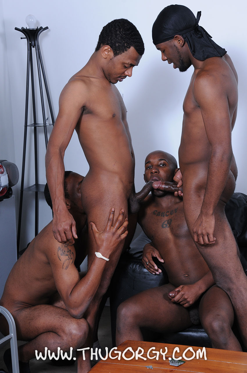 Thug-Orgy-Brooklyn-Bounce-Intrigue-Kash-Mr-Wayne-Young-Buck-Black-Thugs-Fucking-Amateur-Gay-Porn-13 Thug Orgy:  One Lucky Player Gets A Bukkake Face Full Of Thug Cum
